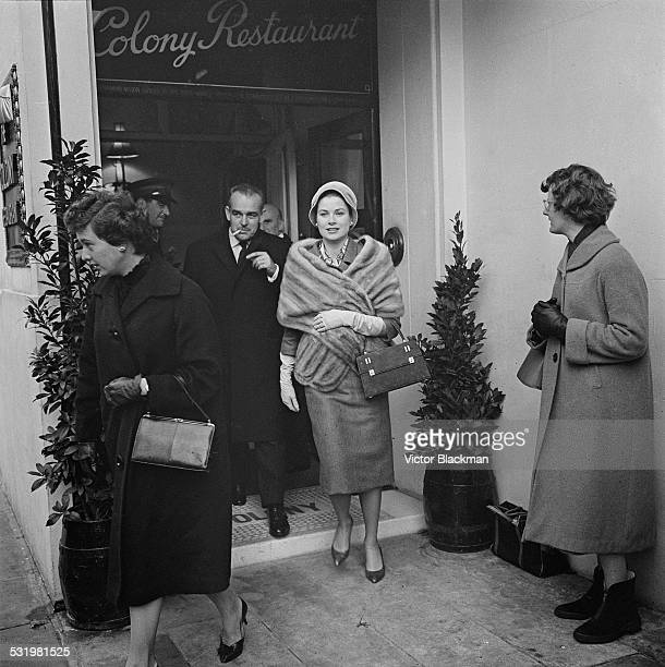 Rainier III Prince of Monaco and Princess Grace leaving the Colony Restaurant whilst on a shopping trip in London's West End 4th December 1959
