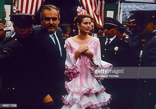Rainier III Prince of Monaco attending the Feria de Abril with his wife and American actress Grace Kelly Seville April 1966