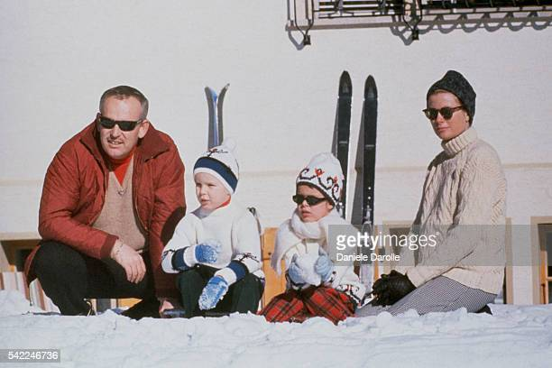 Rainier III, Prince of Monaco, his wife Grace Kelly, Pricenss of Monaco, with their children Albert II, Prince of Monaco, and Caroline, Princess of...