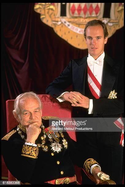 Rainier III, Prince of Monaco with his son Albert II, Prince of Monaco.