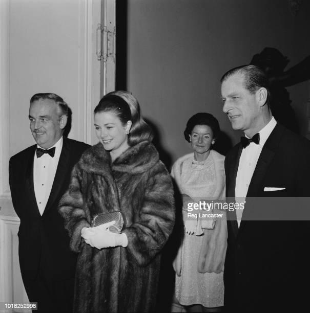 Rainier III, Prince of Monaco with his wife, American actress Grace Kelly , and Prince Philip at the Opéra de Monte-Carlo, Monaco, 15th December 1966.