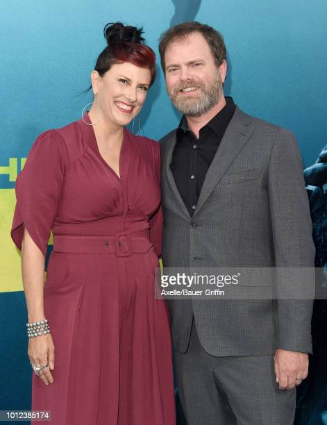 Rainn Wilson and Holiday Reinhorn attend the premiere of Warner Bros. Pictures and Gravity Pictures' 'The Meg' at TCL Chinese Theatre IMAX on August...