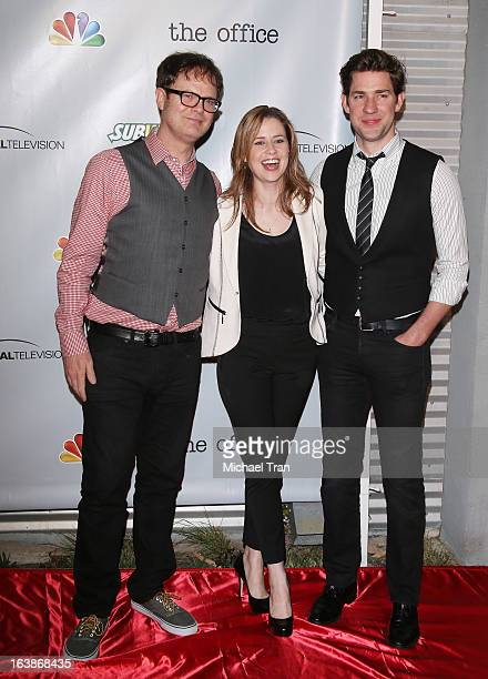 """Rainn Wilson, Jenna Fischer and John Krasinski arrive at """"The Office"""" series finale wrap party held at Unici Casa Gallery on March 16, 2013 in Culver..."""