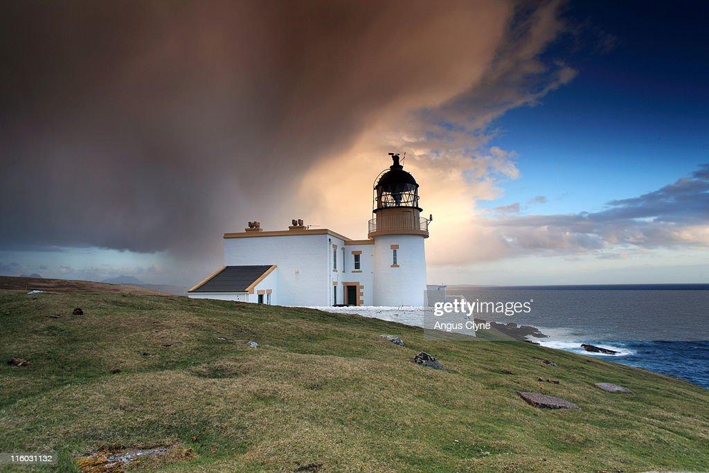Rainshowers Stoer Lighthouse Sutherland Scotland : Stock Photo