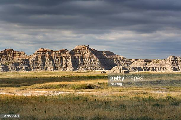 rainstorm over badlands - black hills stock photos and pictures