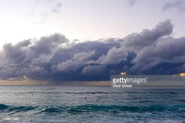 Rainstorm over Cronulla beach, early morning.