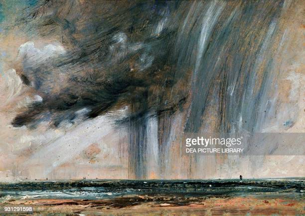 Rainstorm over the sea, seascape study with rainclouds, ca 1824-1828, by John Constable , oil on paper laid on canvas, 22.2x31 cm.