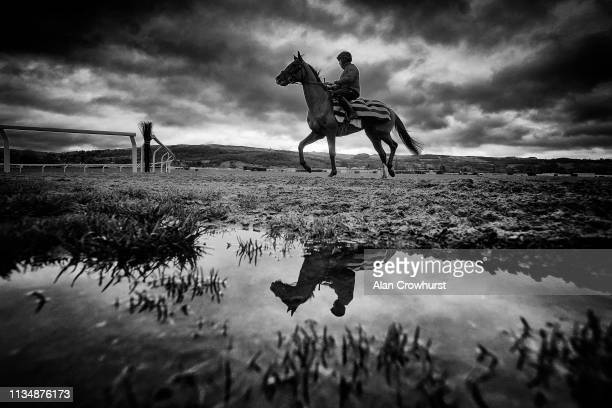 Rainwater sits on the all weather surface on the gallop in the centre of the course as a horse and rider make their return to the stables after...