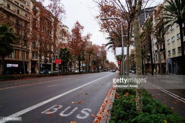 Rainy and empty Avenida Diagonal, Barcelona, Spain