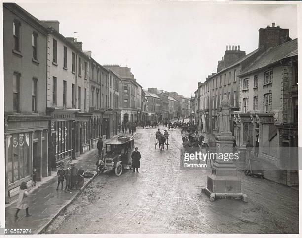 Rainy and muddy main street scene in Tipperary, Ireland