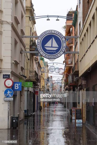 Rainy Carrer de Mar Street, Badalona, Spain