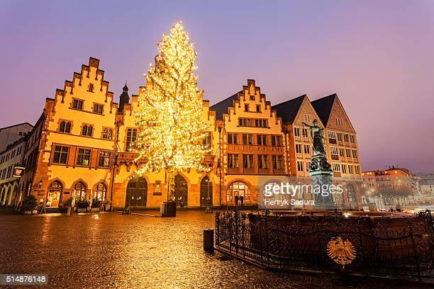 Rainy Christmas evening in Frankfurt