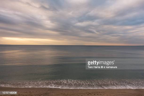 Rainy clouds on Sagami Bay in Kanagawa prefecture in Japan in the morning