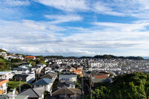 rainy clouds on the residential district in kanagawa prefecture of japan - 神奈川県 ストックフォトと画像
