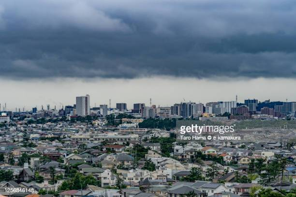 rainy clouds on the residential district in kanagawa prefecture of japan - 平塚市 ストックフォトと画像