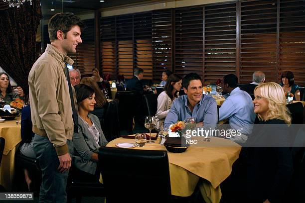RECREATION Rainy Day Episode 301 Pictured Adam Scott as Ben Wyatt Rashida Jones as Ann Perkins Rob Lowe as Chris Traeger Amy Poehler as Leslie Knope