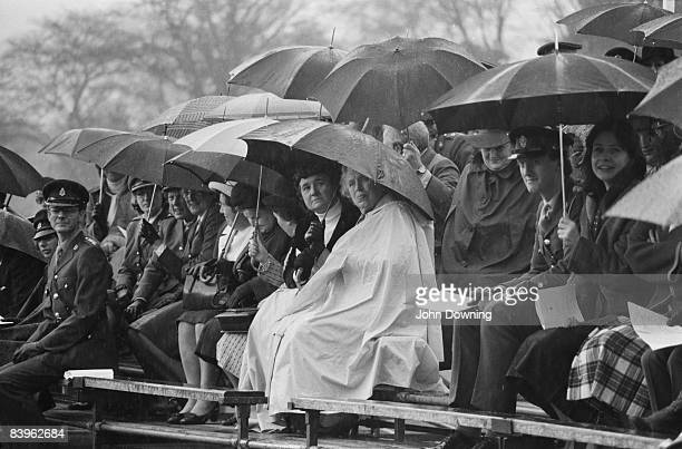 A rainy day for the passing out parade at the Royal Military Academy Sandhurst 10th February 1981
