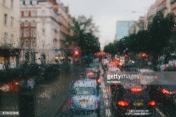 rainy day in london downtown - shoreditch stock photos and pictures
