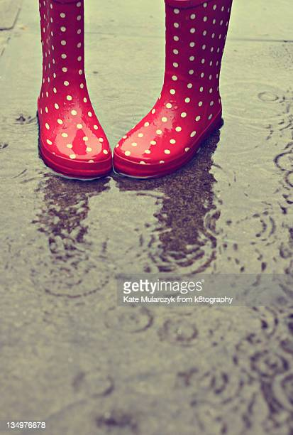 Rainy day red gumboots