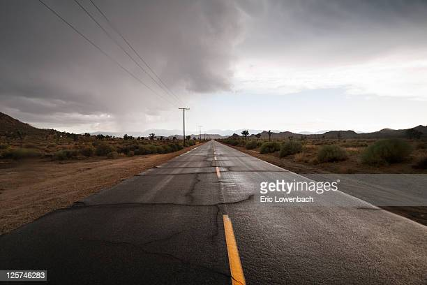 rainy desert road - lowenbach stock photos and pictures