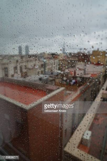 Rainy Downtown Barcelona, Torre Mapfre, Spain
