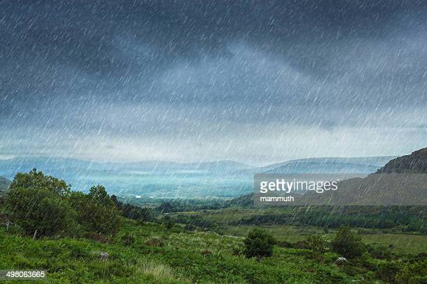 rainy landscape - rain stock pictures, royalty-free photos & images