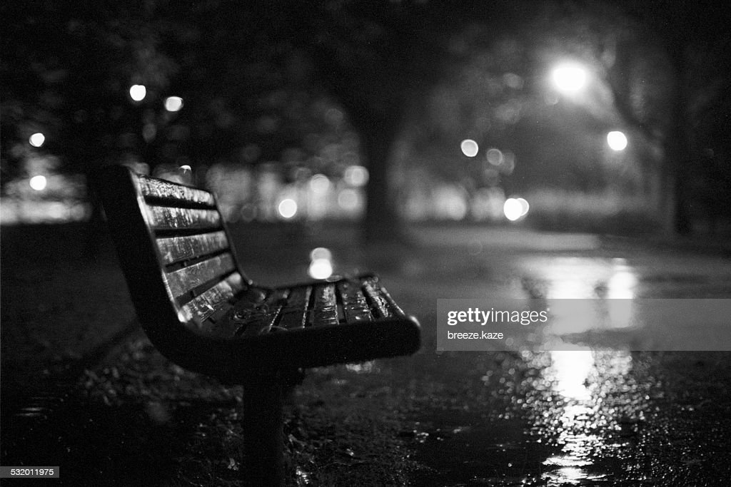 Rainy Night Bench In Black And White Stock Photo Getty