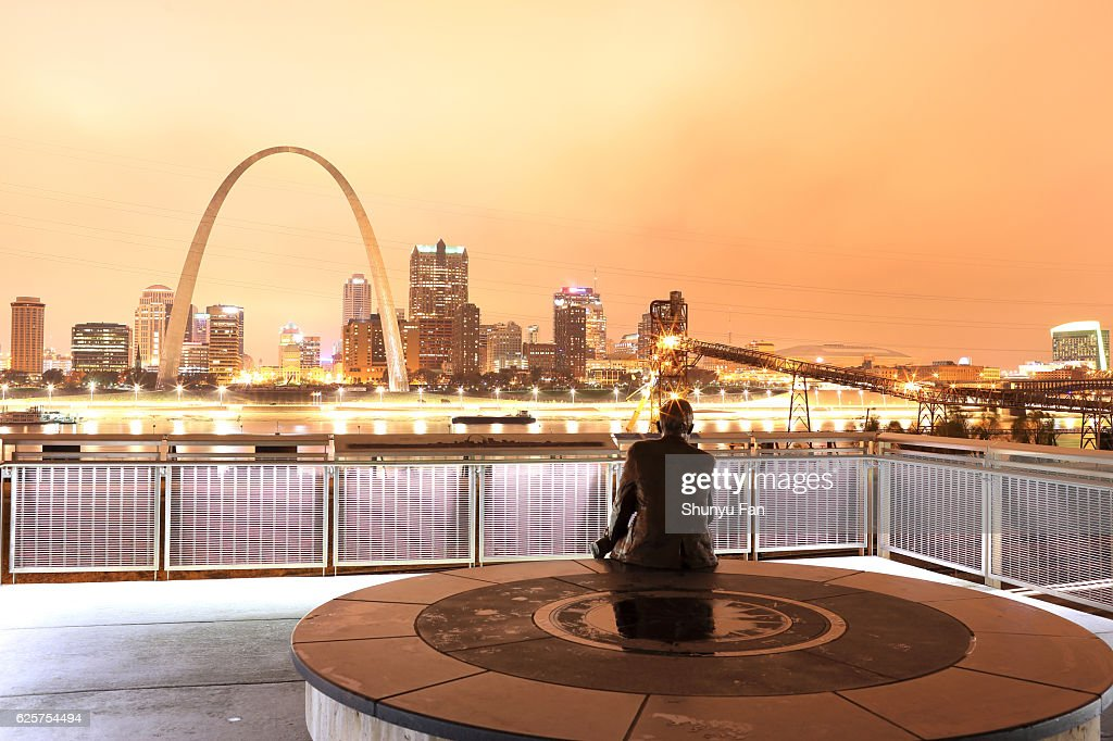 Rainy Night St. Louis Skyline : Stock Photo