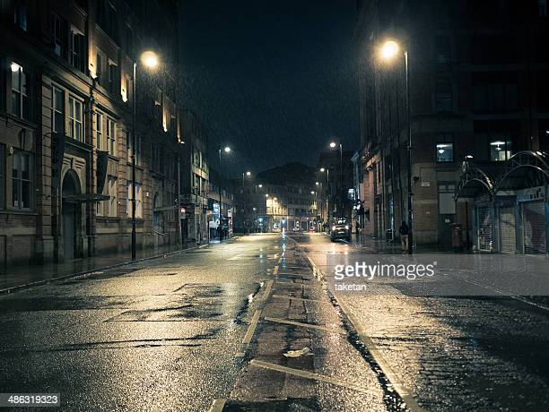 Rainy night street in Manchester