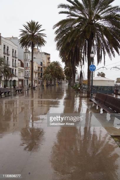 Rainy Passeig de la Rambla, Downtown Badalona, Spain