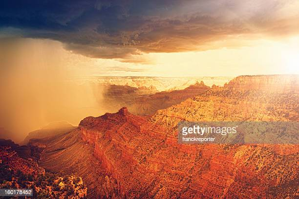 Rainy storm at sunset on Grand canyon - USA