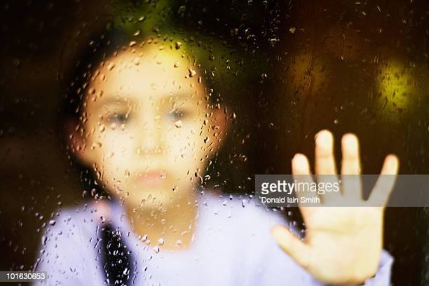 rainy  window - sadgirl stock pictures, royalty-free photos & images