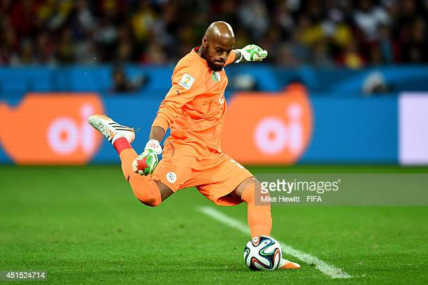 Rais M'Bolhi of Algeria in action during the 2014 FIFA World Cup Brazil Round of 16 match between Germany and Algeria at Estadio BeiraRio on June 30...