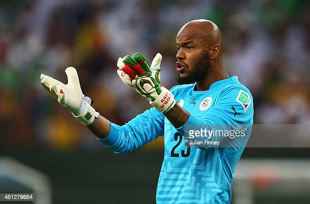 Rais M'Bolhi of Algeria looks on during the 2014 FIFA World Cup Brazil Group H match between Algeria and Russia at Arena da Baixada on June 26 2014...
