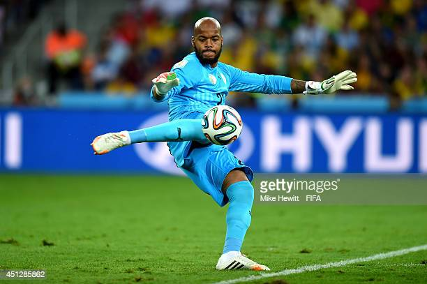 Rais M'Bolhi of Algeria punts the ball during the 2014 FIFA World Cup Brazil Group H match between Algeria and Russia at Arena da Baixada on June 26...
