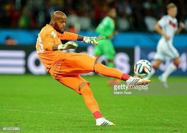Rais M'Bolhi of Algeria punts the ball during the 2014 FIFA World Cup Brazil Round of 16 match between Germany and Algeria at Estadio BeiraRio on...