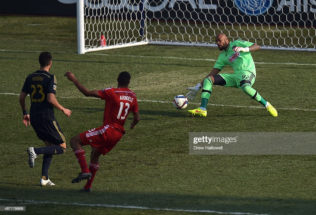Rais Mbolhi #92 of Philadelphia Union is unable to make the save on a shot and goal by Tesho Akindele #13 of FC Dallas at PPL Park on March 21, 2015 in Chester, Pennsylvania. Dallas won 2-0.