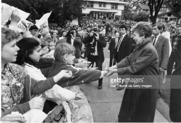 Raisa Gorbachev, the wife of the last Soviet leader, Mikhail S. Gorbachev, greets the crowds that waited to see her outside the home of Karen and...