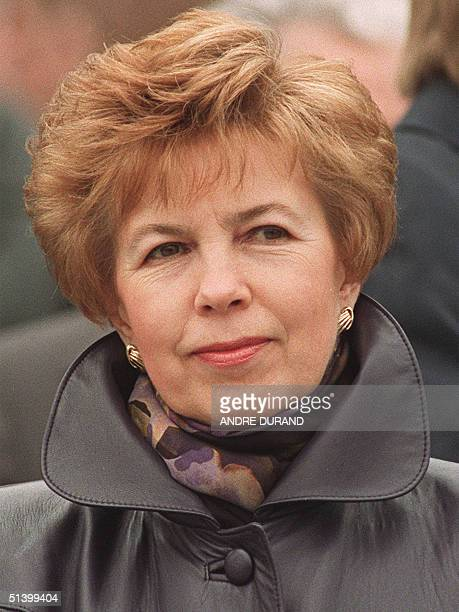 Raisa Gorbachev , wife of Soviet President Mikhail Gorbachev, attends 01 May 1990 in front of the rostrum of the Lenin's Mausoleum at the Red Square...