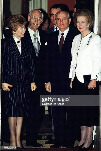 Raisa Gorbachova Denis Thatcher Mikhail Gorbachev and Margaret Thatcher at 10 Downing Street during an official visit of the Russian leader to London...