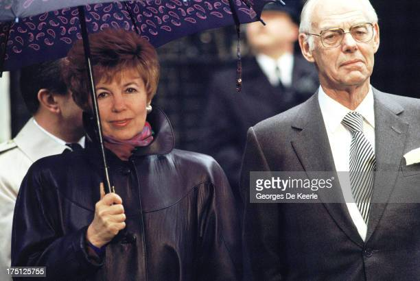 Raisa Gorbachova wife of Russian leader Mikhail Gorbachev and Denis Thatcher husband of former British Prime Minister Margaret Thatcher stands under...