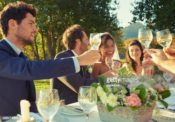 raise a glass! - wedding reception stock photos and pictures