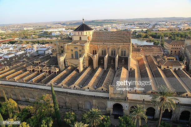 Raised angle view of Great Mosque Mezquita cathedral former mosque building in central Cordoba Spain