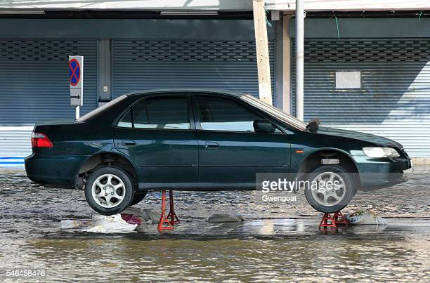 Raised car to avoid the flood