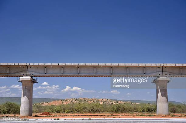 A raised railway track passes through the Tsavo national park at the site of the Tsavo superbridge construction project which will form part of the...