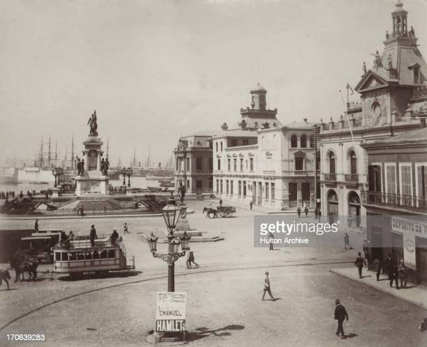 A raised view of Plaza Sotomayor showing the Monumento de los Heroes de Iquique Valparaiso Chile circa 1880