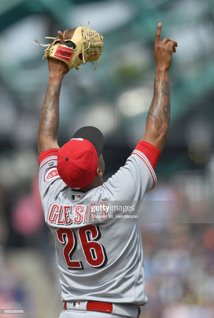 Raisel Iglesias #26 of the Cincinnati Reds celebrates after striking out Brandon Belt #9 of the San Francisco Giants for the final out of the game in the bottom of the ninth inning at AT&T Park on May 16, 2018 in San Francisco, California. The Reds won the game 6-3.