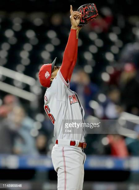 Raisel Iglesias of the Cincinnati Reds celebrates the win over the New York Mets at Citi Field on April 29 2019 in the Flushing neighborhood of the...