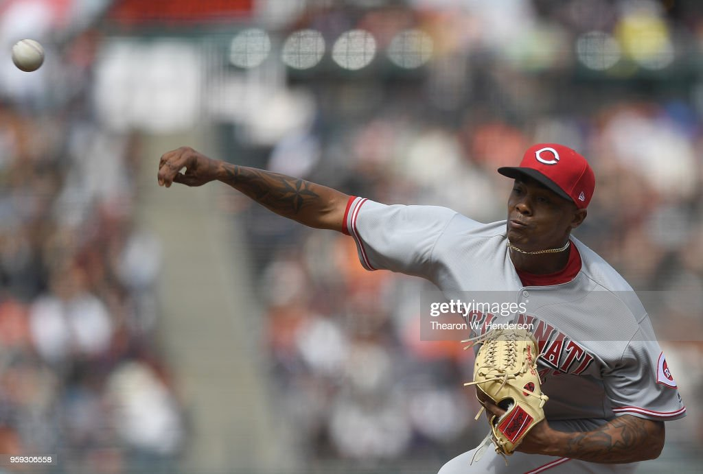 Raisel Iglesias #26 of the Cincinnati Reds pitches against the San Francisco Giants in the bottom of the ninth inning at AT&T Park on May 16, 2018 in San Francisco, California.