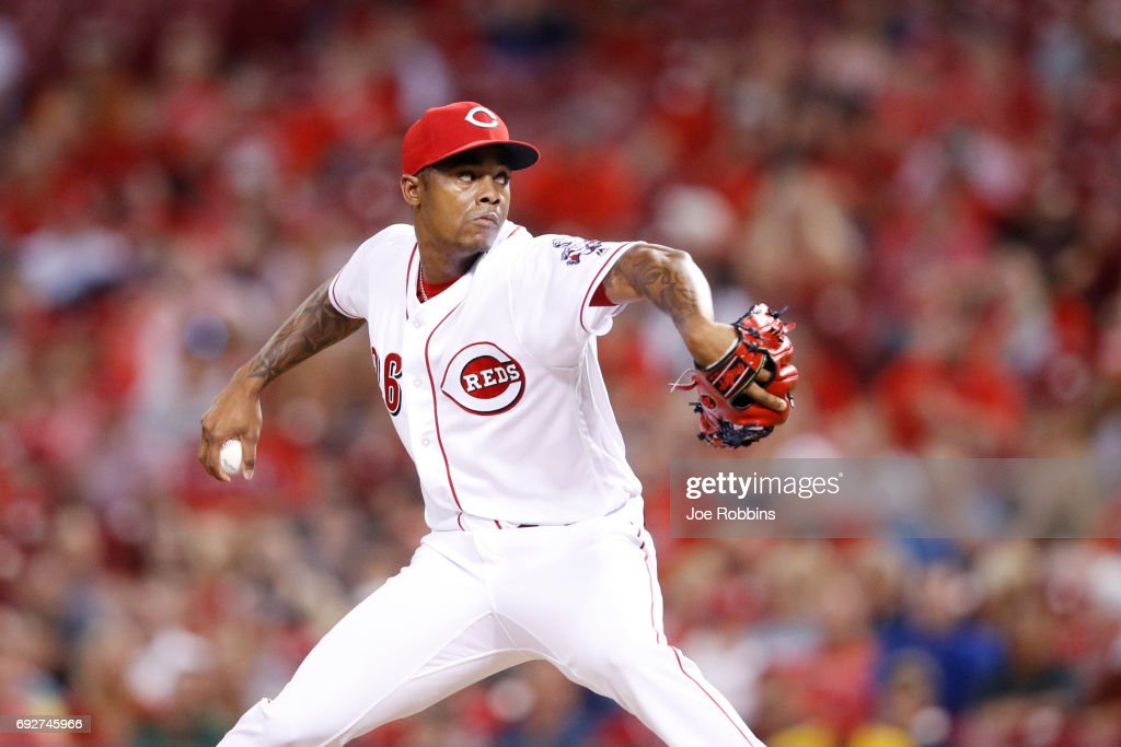 Raisel Iglesias #26 of the Cincinnati Reds pitches in the ninth inning of a game against the St. Louis Cardinals at Great American Ball Park on June 5, 2017 in Cincinnati, Ohio. The Reds defeated the Cardinals 4-2.